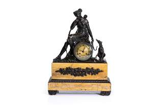 FRENCH EMPIRE BRONZE & MARBLE MANTEL CLOCK