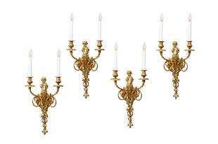 TWO PAIRS OF BAROQUE ORMOLU FIGURAL WALL SCONCES