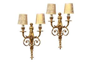 PAIR OF GILT BRONZE TWO BRANCH WALL SCONCES