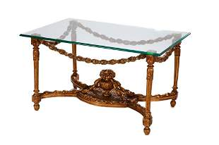 ANTIQUE GILTWOOD TABLE BASE WITH GLASS TOP