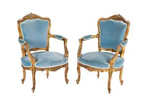 PAIR OF FRENCH FAUTEUIL ARMCHAIRS