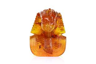 RECONSTITUTED AMBER BUST OF A PHARAOH 3,355g
