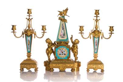 FINE FRENCH PORCELAIN & BRONZE CLOCK GARNITURE