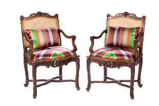 PAIR OF FRENCH CARVED WOOD & CANED ARMCHAIRS