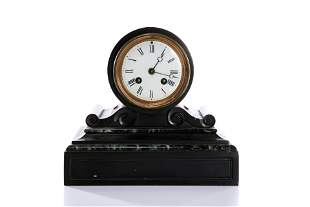 ANTIQUE FRENCH BLACK SLATE & MARBLE MANTLE CLOCK