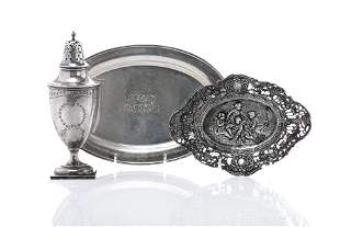 TWO SILVER DISHES & SILVER SUGAR CASTER, 430g