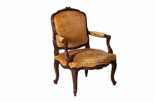 LOUIS XV STYLE CARVED WOOD ARMCHAIR