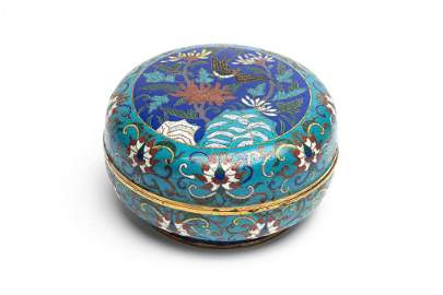 EARLY CHINESE CLOISONNE CIRCULAR COVER BOX
