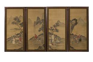 FOUR FRAMED CHINESE PAINTINGS ON SILK