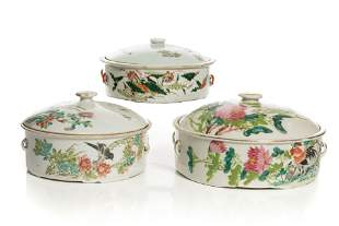 THREE CHINESE FAMILLE ROSE COVERED SERVING DISHES
