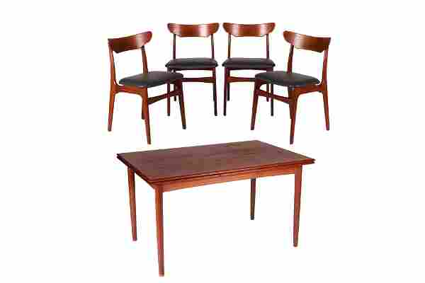 DANISH MCM TEAK DINING TABLE AND FOUR CHAIRS