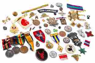 GROUP OF MEDALS AND MILITARY INSIGNIA