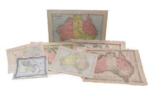[MAPS] A LOT OF 7 HAND COLOURED MAPS OF AUSTRALIA