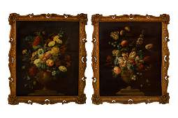 PAIR OF ANTIQUE FLORAL STILL LIFE PAINTINGS