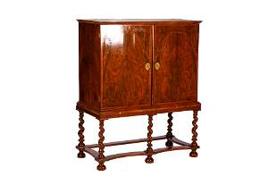 EARLY 18TH C ENGLISH BURLED WALNUT CHEST ON STAND