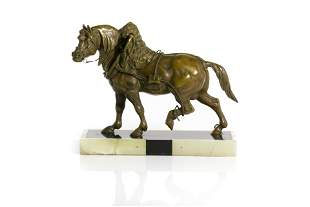 ART DECO PATINATED METAL HORSE ON ONYX BASE