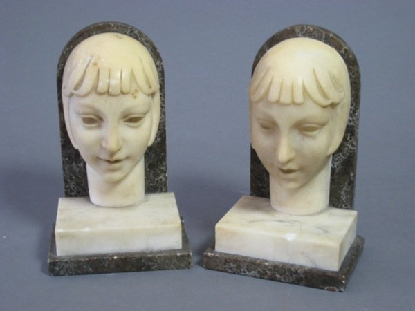 1001: PAIR ART DECO ALABASTER BOOKENDS OF YOUNG WOMEN
