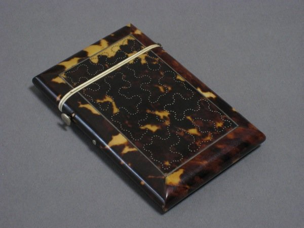 1004: ENGLISH TORTOISE SHELL CARD CASE SILVER INLAID
