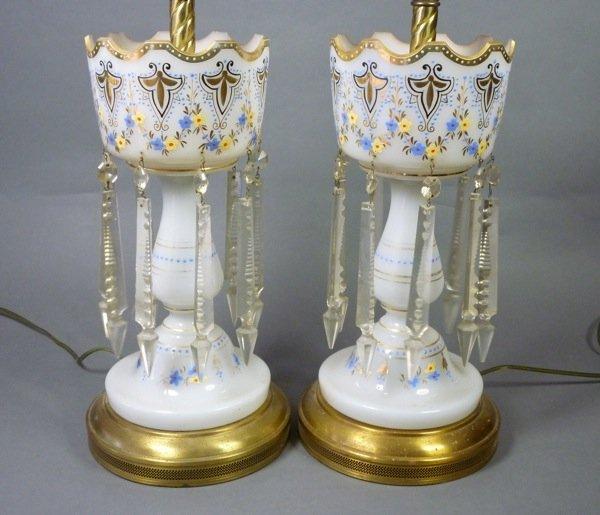 1016A: BOHEMIAN OPAQUE WHITE GLASS GILT LUSTRES LAMPS