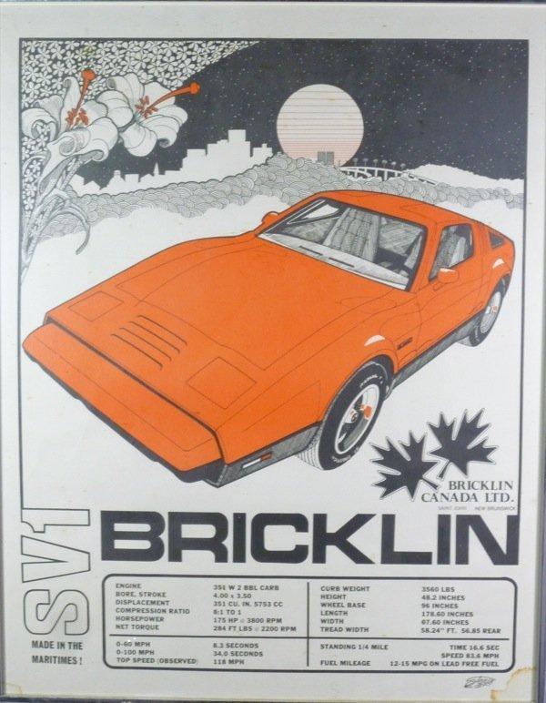 1018: BRICKLIN SV1 CANADIAN AUTOMOBILE SHOWROOM POSTER