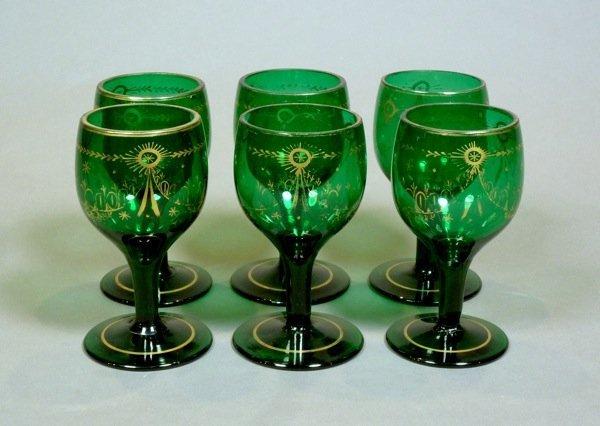 1020: GEORGIAN ENGLISH SET GREEN GLASS & GILT GOBLETS