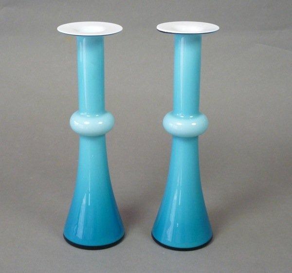 1022: SWEDISH HOLMEGAARD CASED BLUE GLASS VASES