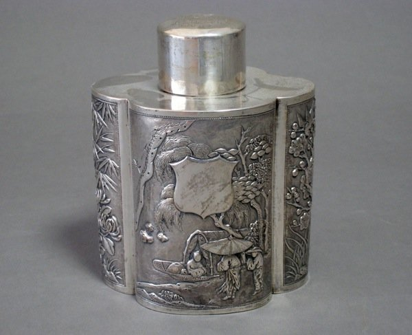 1091: CHINESE EXPORT SILVER TEA CADDY HHC
