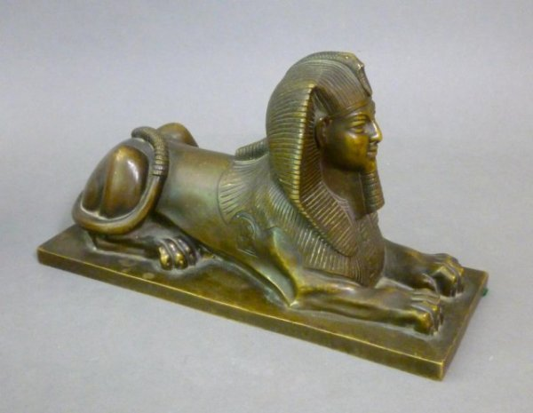 1002: FRENCH BRONZE MODEL OF A SPHINX