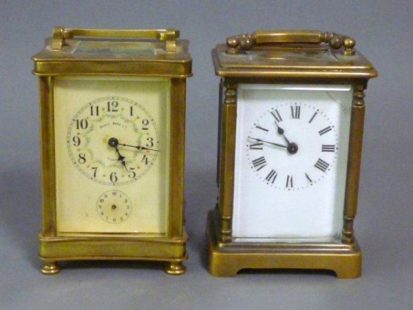 1012: TWO FRENCH BRASS CARRIAGE CLOCKS