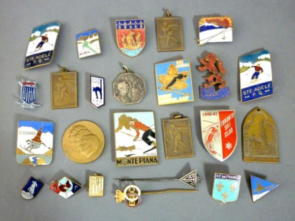 1013: LOT OF ASSORTED ENAMEL SKI AND BRONZE PINS