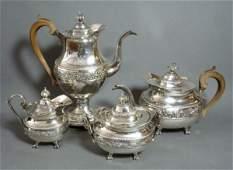 1113 FINE PORTUGUESE SILVER TEA AND COFFEE SET c1820