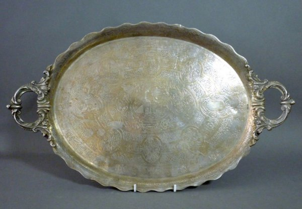 1116: EGYPTIAN SILVER TWO HANDLED TRAY