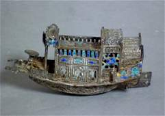 1146: CHINESE EXPORT SILVER & ENAMEL MINIATURE BOAT