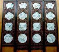 1187: CHINESE FOUR PANEL SCREEN WITH PORCELAIN PLAQUES