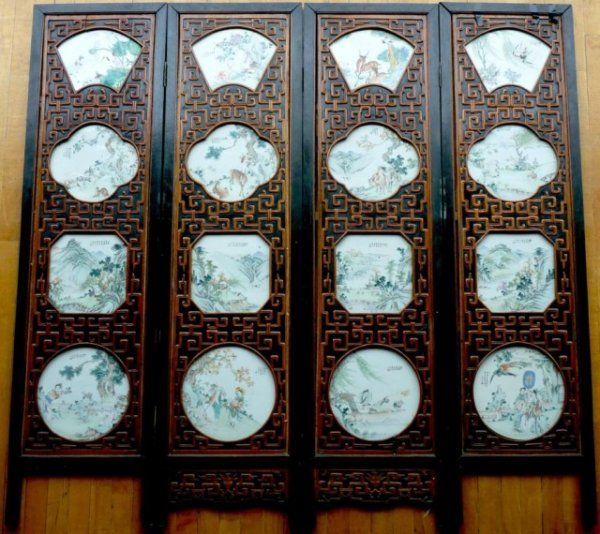CHINESE FOUR PANEL SCREEN WITH PORCELAIN PLAQUES