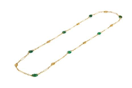 GOLD & GREEN STONE NECKLACE, 23g