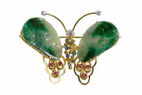 CHINESE GOLD & JADEITE MOUNTED BUTTERFLY PIN, 16g