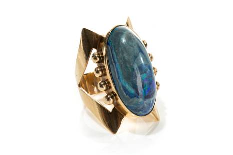 GOLD BRUTALIST RING WITH BLUE OPAL CABOCHON, 14g