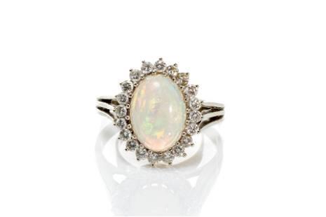 GOLD, DIAMOND & WHITE OPAL COCKTAIL RING, 5g