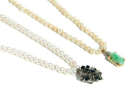 TWO PEARL NECKLACES WITH GOLD PENDANTS