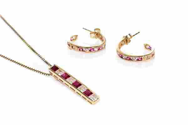 RUBY & DIAMOND NECKLACE & EARRINGS, 5g