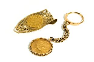 GOLD MONEY CLIP & KEY CHAIN, 56g