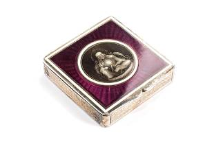 FINE FRENCH SILVER AND ENAMEL COMPACT