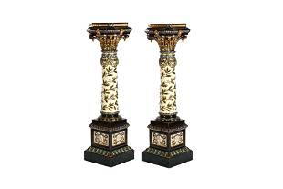 PAIR OF SWEDISH MAJOLICA POTTERY PEDESTAL STANDS