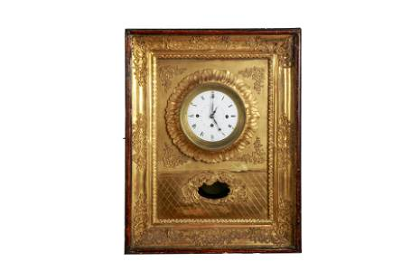 FRENCH EMPIRE WOOD CASED & GILDED WALL CLOCK