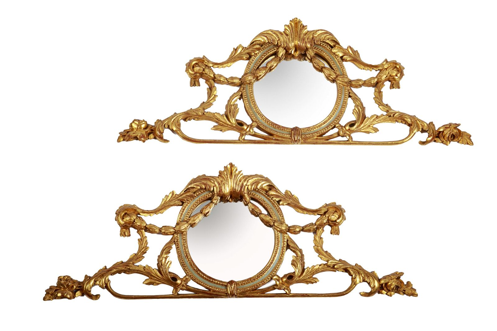 PAIR OF ANTIQUE CARVED GILT WOOD PEDIMENT MIRRORS