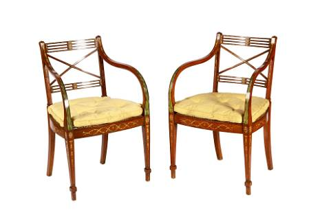 PAIR OF SHERATON PAINTED & CANED ARMCHAIRS