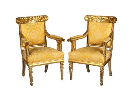PAIR FINE 18th / 19th C CARVED GILTWOOD ARMCHAIRS
