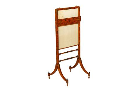 SHERATON SATINWOOD PAINTED FIRE SCREEN