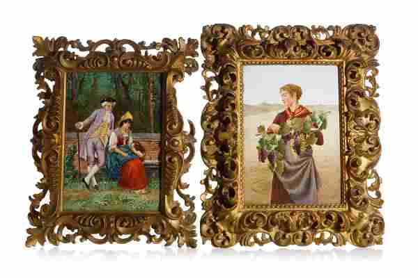 PAIR OF FRAMED ITALIAN PAINTED PORCELAIN PLAQUES